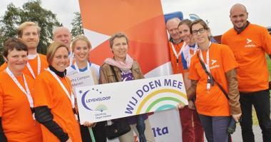 Enthousiaste groep deelnemers van AZ Delta aan Levensloop Kortrijk 2015