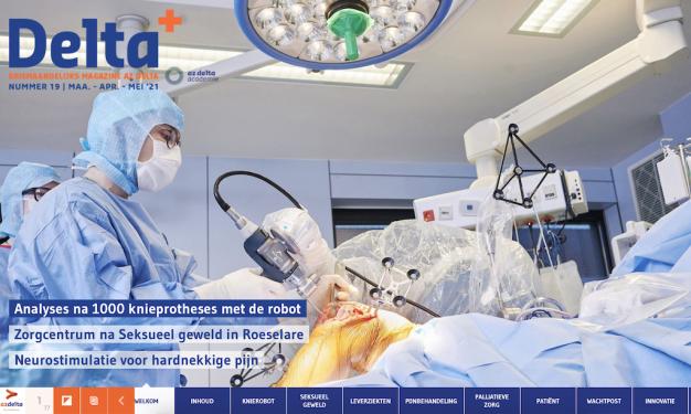 beeld van operatie knieprothese met robot