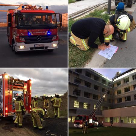 Vier foto's met brandweerwagens en brandweerlui