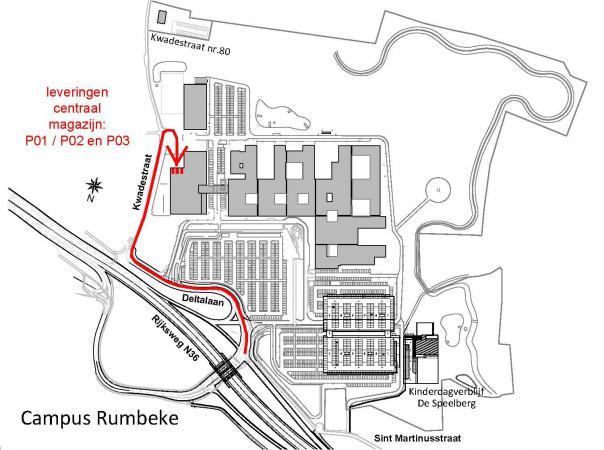 plattegrond van site van campus Rumbeke met aanduiding levering centraal magazijn
