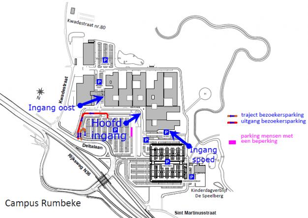 Grondplan campus Rumbeke met ingangen en parking bezoekers