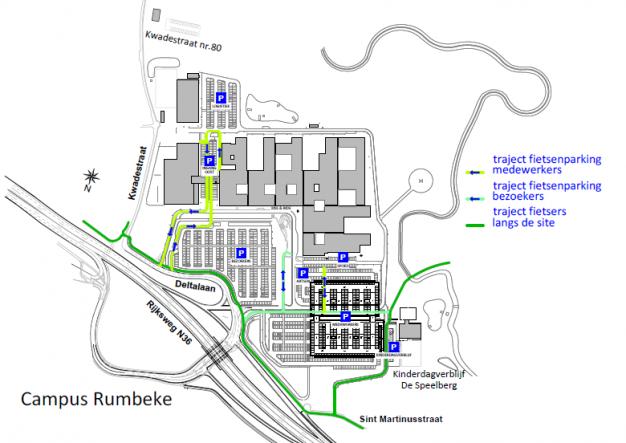 Grondplan campus Rumbeke met trajecten voor fietsers