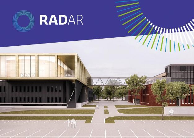 Beeld van centrum met logo RADar